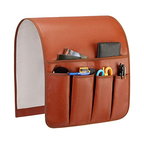 Teniux Non-Slip Couch Sofa Chair Armrest Organizer with 5 Pockets Armchair Caddy for Smart Phone, Book, Magazines, Ipad, TV Remote Control Holder Brown