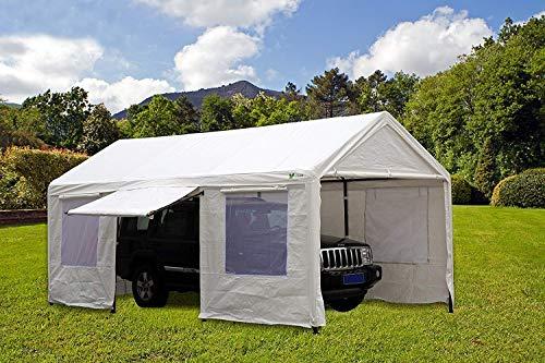 SORARA Carport 10 x 20 ft Heavy Duty Canopy Garage Car Shelter with Windows and Sidewalls, White