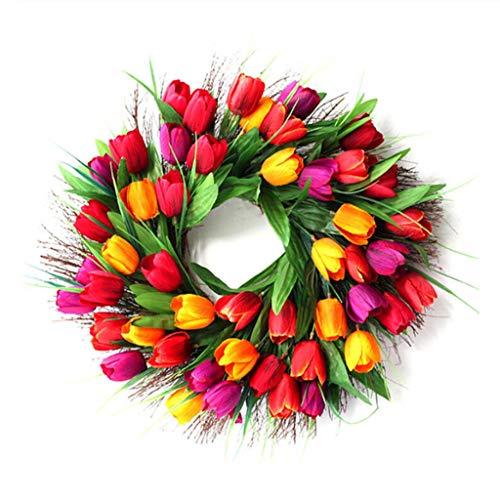 Fai da Te Artigianato Finto Rosa Tulipano Corona Pendere Porta Finestra Decorazione della Parete Corona di Festa Festival della Festa Nuziale della