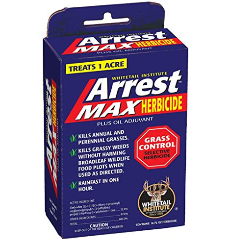 Whitetail Institute Arrest Max Selective Grass Control Herbicide Specifically Developed for Deer Food Plots, 1 Pint