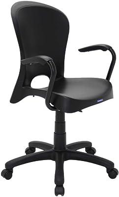 Cadeira Plástica Jolie Preta Com Rodizio Em Nylon E Braco De Aluminio Preto Tramontina 92076/009