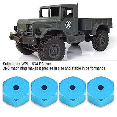 Dilwe RC Auto Hex Hub Adapter, 4 Stück Aluminiumlegierung 6mm bis 12mm Rad Hex Hub Adapter für WPL 1634 RC Truck RC Ersatzteil Zubehör( Blau)