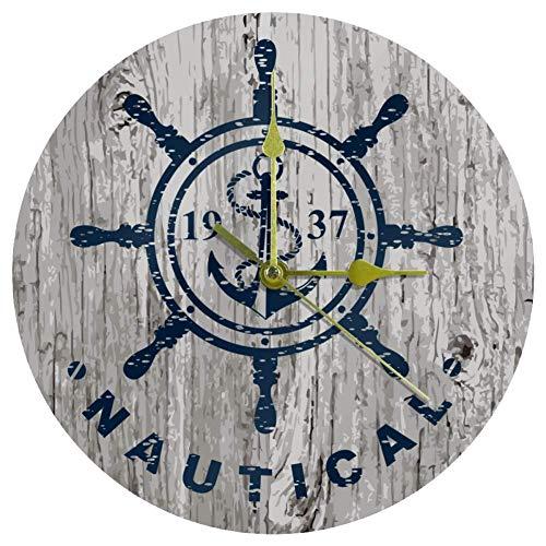 Reloj de pared de acrílico con timón náutico, 10 pulgadas, silencioso, no se hace tictac, funciona con pilas, redondo, relojes de pared decorativos, para el hogar, oficina, escuela