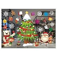 ROOYA BABY Direct-JP クリスマス 静電ステッカー ウォールステッカー 100cm*70.6cm 窓ガラス ステッカー クリスマスス 飾り ガラス 北欧風 雪の結晶 サンタ 雪花 トナカイ クリスマスツリー 剥がせる