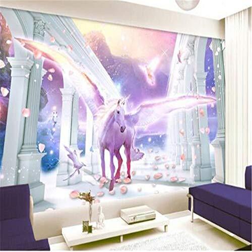 Murale Fotomurali Carta Da Paratistile Europeo Colonna Romana Volare Unicorno Pegasus Petalo Sfondo Foto Wallpaper Papel De Parede 3D Carta Da Parati Murale, 150 * 105 Cm