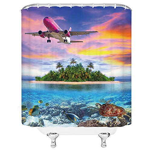 Xnichohe Ocean Airplane Shower Curtain Palm Tree Island Sea Turtle Fish Tropical Vacation Travel Theme Polyester Cloth Fabric Set 70×70 Inch with Hook