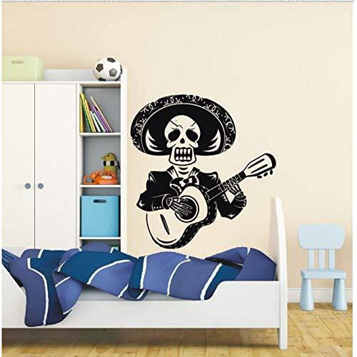 Diseño de arteCráneo El hombre toca la guitarra Etiqueta de la pared Mariachi México con Sombrero Vinilo Mural de la pared Inicio Decoración especial 71x80cm