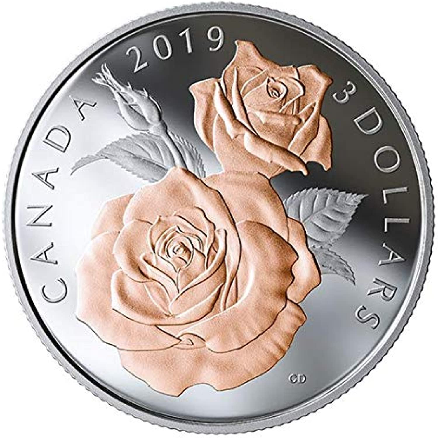 Pure Silver Coin with Selective pink gold Plating  Queen Elizabeth pink Blossoms (2019)