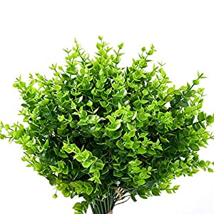 12 pcs Artificial Flowers UV Resistant Outdoor Fake Plants and Greenery Springs Artificial Boxwood for Bridal Party Wedding Bouquet for Greenery Shrubs Plants Home Garden (Green)