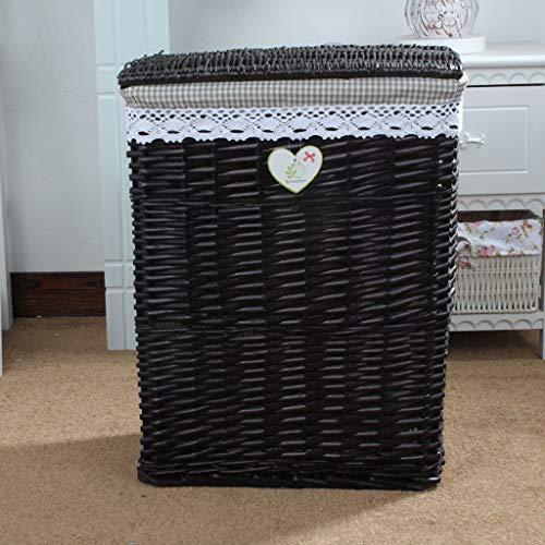 JICCH 2 Pieces Dirty Clothes Hamper Rectangular Wicker Linen Laundry Storage Basket/Bin Clothes Large