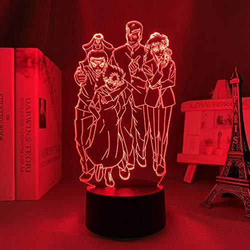 Lámpara de noche 3D de anime, ilusión anime, Yu yu Hakusho, luz LED para dormitorio, decoración de luz nocturna infantil, regalo de cumpleaños, manga Yu Yu Hakusho, lámpara 3D, mesita de noche MAOJIE