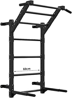 Dip Stands Home Fitness Multi-Position Horizontal bar Wall Parallel bar Pull-ups Ribbed Frame Rehabilitation Frame (Color : Black, Size : 12050120cm)