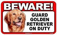 BEWARE!GOLDEN RETRIEVER ラミネートサイン:ゴールデンレトリーバー 注意 警戒中 Made in U.S.A [並行輸入品]