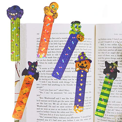 144 PCs Halloween Bookmark Rulers Party Favor Pack (6 Designs) with Halloween Themed Prints for Holiday Decorations, Goodies, Halloween Party Décor, Classroom Rewards, and Trick or Treat Prizes.