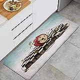VAMIX Tappeto da Cucina,Tema di tempo astratto con podio di finzione con vecchie carte orologio e icona di corda,antiscivolo passatoia da cucina antiscivolo zerbino tappetino per il bagno