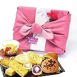 母の日 の プレゼント 人気スイーツギフトセット 竹籠入り風呂敷包 (ピンク色風呂敷)