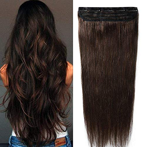 Clip in Extensions Echthaar - Remy Echthaar Haarteil 1 Tresse mit 5 clips Haarverlängerung 55cm-100g (#2 Dunkelbraun)