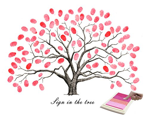 Fingerprints Tree Proboths Creative DIY Guest Signature Sign-in Book Canvas Fingerprints Tree Painting for Wedding Birthday Party with 4pcs Ink Pads