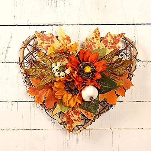 HAOJON Guirnalda de otoño Artificial 28cm Guirnalda de Puerta de Entrada de Acción de Gracias de Halloween con Calabaza Bellota Bayas Decoraciones de Guirnalda de Cosecha de otoño para Halloween De