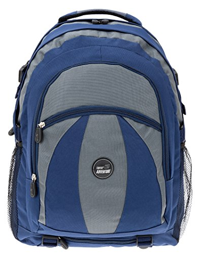 SPEAR Schulrucksack Matrix Laptoprucksack mit Polsterfach 15,4 Zoll + Regenhülle/BLAU