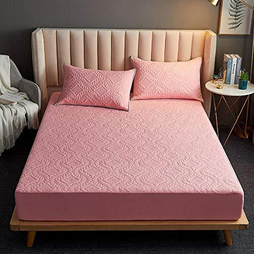FJMLAY Sábanas ajustablesExtra Suave,Sábanas Acolchadas Impermeables, Almohadillas Protectoras para Apartamentos de Dormitorio-Pink_3_120cmx200cm