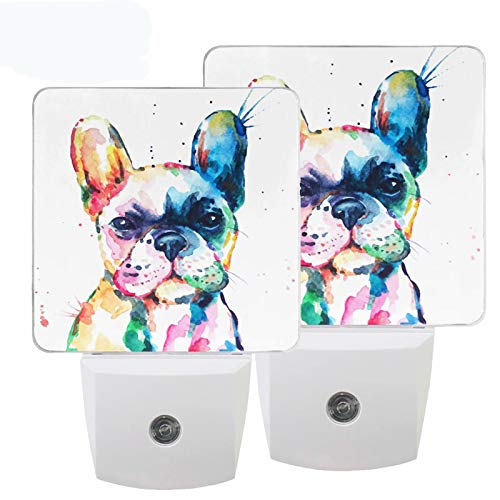 Pfrewn French Bulldog Puppy Dog Night Light Plug in Set of 2 Colorful Animal Nightlights LED Auto Dusk-to-Dawn Sensor Lamp for Bedroom Bathroom Reading Kitchen Hallway Stairs Decorative