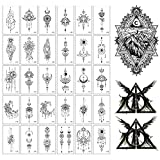 Temporary Tattoo 32 Sheets Tribal Realistic Lion King Temporary Tattoo Stickers For Men Kids Cool Black Ink Drawing Waterproof Fake Tattoos For Body Real Large Temporary Paper (Grim Reaper)