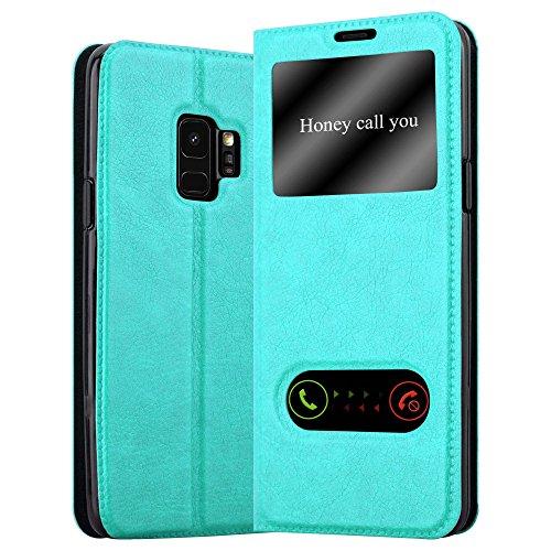 Cadorabo Hülle für Samsung Galaxy S9 - Hülle in Mint TÜRKIS – Handyhülle im Standfunktion & 2 Fenstern (View Design) - Hülle Cover Schutzhülle Etui Tasche Book Klapp Style