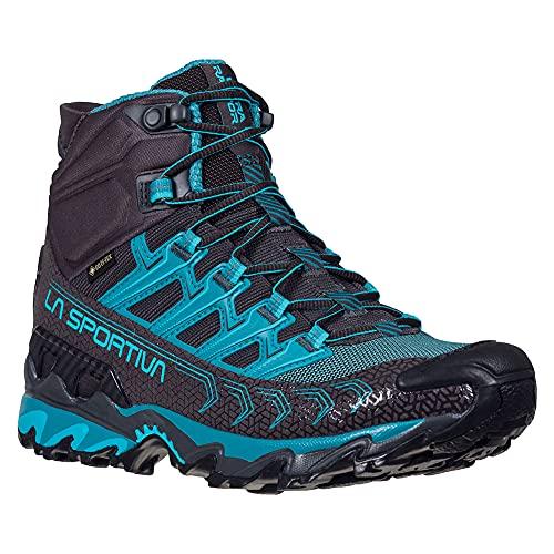 La Sportiva Womens Ultra Raptor II Mid GTX Hiking Shoe, Carbon/Topaz, 6