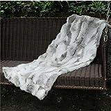 Soft Real Rabbit Grey Fur Throw Blanket Rug Patchwork Skin Fur Rug Pelz Leather Pelt Home Kitchen Bed Throws, 41.5' x 21.6'