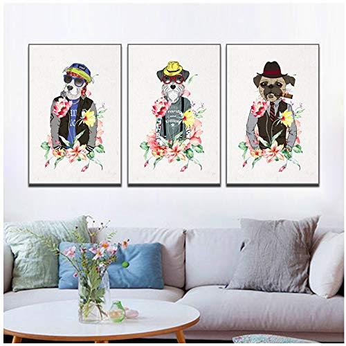 Canvas Schilderij Creatieve Cartoon Dier Bloemen Hond Posters En Prints Voor Woonkamer Muurschildering Moderne Pop Decoratieve 30x50 cm / 11.8