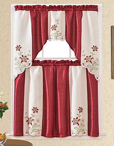 3pc Rod Pocket Embroidered Kitchen Curtains and Valances Set Swag Curtains & Tier Set 36 Inch Length Floral Fruit Designs Many Colors( BT423-BURGUNDY)