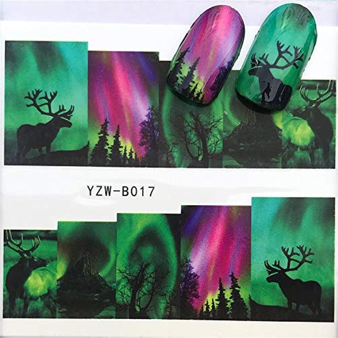 偽造赤挽くYan 3個ネイルステッカーセットデカール水転写スライダーネイルアートデコレーション、色:YZWB017