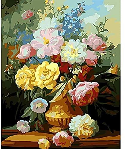 NC88 Pintura al óleo Digital de Bricolaje Pintura de jarrón de Rosas por número Pintura al óleo para niños Adultos Hogar Cama Habitación Decoración de Pared Obra de Arte DIY Lienzo Digital Pintado
