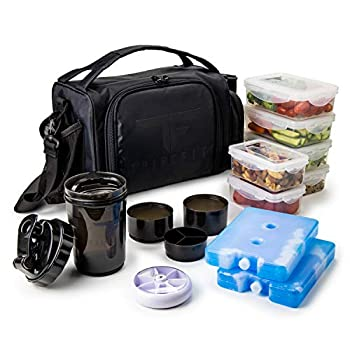 Insulated Meal Prep Lunch Box with 6 Food Portion Control Containers - BPA-Free Reusable Microwavable Freezer Safe - With Shaker Cup Pill Organizer Shoulder Strap & Storage Pocket  Black
