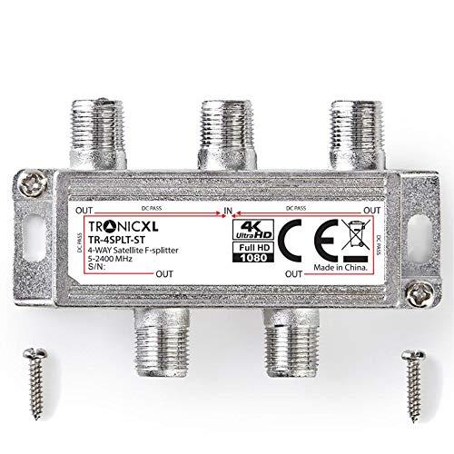TronicXL Digitaler 4-Fach SAT Verteiler Antennenweiche Antennen Kabel DVBC DVBS DVBT DVBS2 DVBT2 Splitter HD TV 4fach Fernsehen Fernseher Switch Weiche F-Stecker Stammleitungsverteiler BK unicable