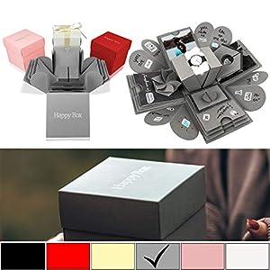 Happy Box PREMIUM SET DIY Überraschungsbox in 7 Farben | Explosionsbox, Scrapbook, faltbare Fotobox, Foto-Album für Muttertag,Jahrestag,Geburtstag,Hochzeit,Jubiläum,Valentinstag Geschenk (Grau)