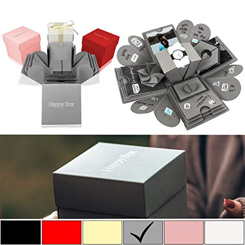 Happy Box PREMIUM SET DIY Überraschungsbox in 7 Farben | Explosionsbox, Scrapbook, faltbare Fotobox, Foto-Album für Muttertag,Jahrestag,Geburtstag,Hochzeit,Jubiläum,Valentinstag Geschenk (Grau)