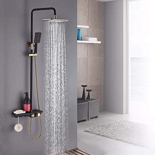 WXJLYZRCXK Sistema de Ducha de Baño con Grifo de Agua Juego de Ducha de Baño, Grifo de Ducha de Latón Montado en la Pared, Cabezal de Ducha Boquilla de Ahorro de Agua Conjunto de Ducha de Estante Ter