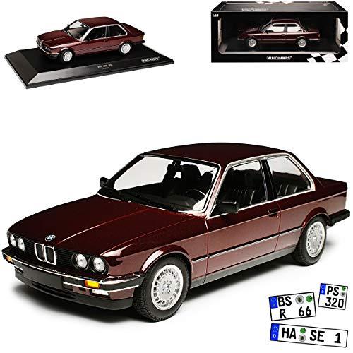 B-M-W 3er E30 323i Coupe Dunkel Rot Metallic 1982-1994 limitiert 1 von 400 Stück 1/18 Minichamps Modell Auto mit individiuellem Wunschkennzeichen