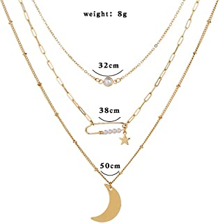 Jxc European And American Fashion Fashion Street Jewelry Star Moon Multi-layer Pendant Women's Pearl Clavicle Necklace(Nz096)