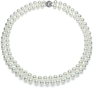 Double Strand White Freshwater Cultured Pearl Necklace with Silver Overtone for Women AA+ Quality with Sterling Silver Cla...