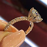 Kuyiuif Rose Gold Cubic Zirconia Promise Rings Grown Halo Engagement Ring for Women Ideal Engagement Ring (7)
