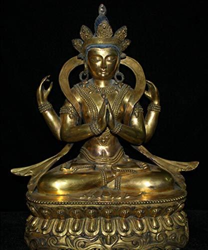 YOUZE Tibet Paars Brons 24K Goud 4 Handen Chenrezig Boeddha standbeeld beelden tuindecoratie