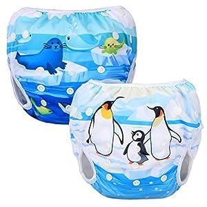 Luxja 赤ちゃん水着 2点セット 0~3歳 サイズ調節可能 再利用可能 ペンギン+海動物