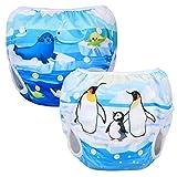 Luxja 2 PCS Reusable Swim Nappy, pannolino da nuoto regolabile per neonati (0-3 anni), lav...
