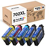 TESEN Remanufactured 702 XL Ink Cartridge Replacement for Epson 702XL 702 T702XL T702 to use with Workforce Pro WF-3720 WF-3733 WF-3730 Printer 5-Pack