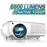 Vidéoprojecteur, TOPTRO 6800 Lumen Video Projecteur Full HD 1080P Natif 1920x1080 Soutien 4K, Son Dolby, Réglage Digital 4D, Fonction Zoom