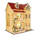 Battitachil DIY Cottage DIY Puppenraum Miniatur Möbel Holzhaus Kit Große Villa Möbel Kreative...