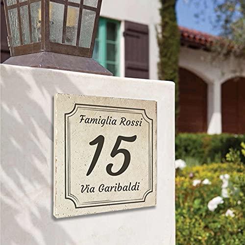 Numero Civico Personalizzato su Mattonella Botticino chiara o scura, misura: 15x15cm